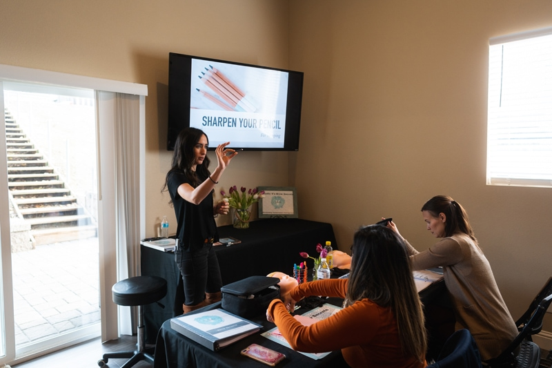Bay Area Microblading Training, teacher standing in font of class